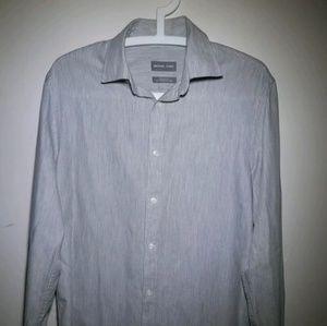 Michael Kors Metallic Gray Slim Fit Long Sleeve